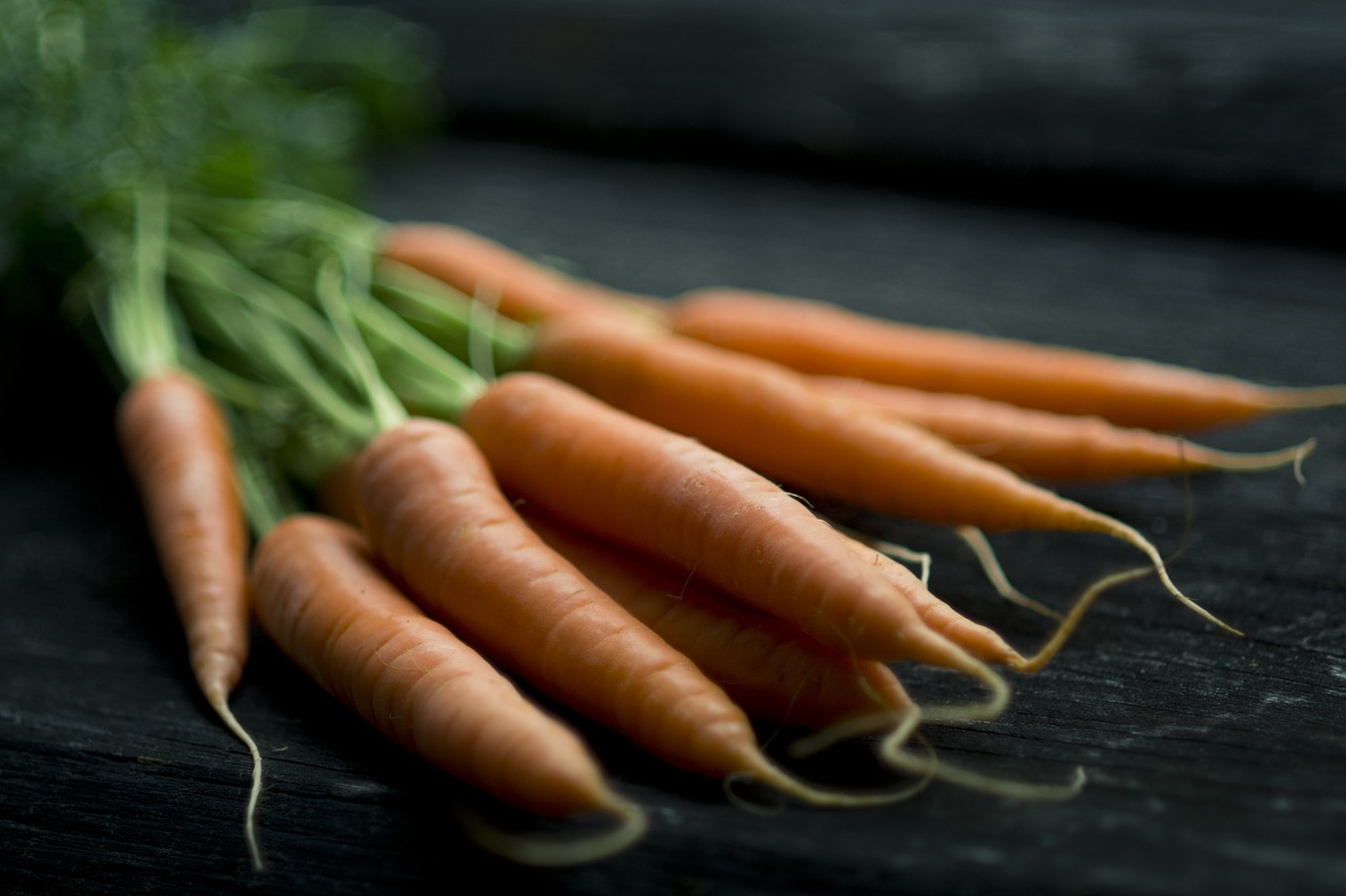 close up bundle of carrots